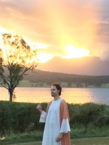 Jesus at Lake Moogerah during the Passion Play