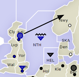A basic Diplomacy convoy: Edinburgh to Norway